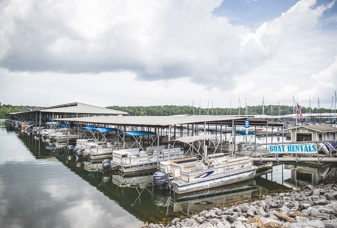 VIew of boat rental section of marina