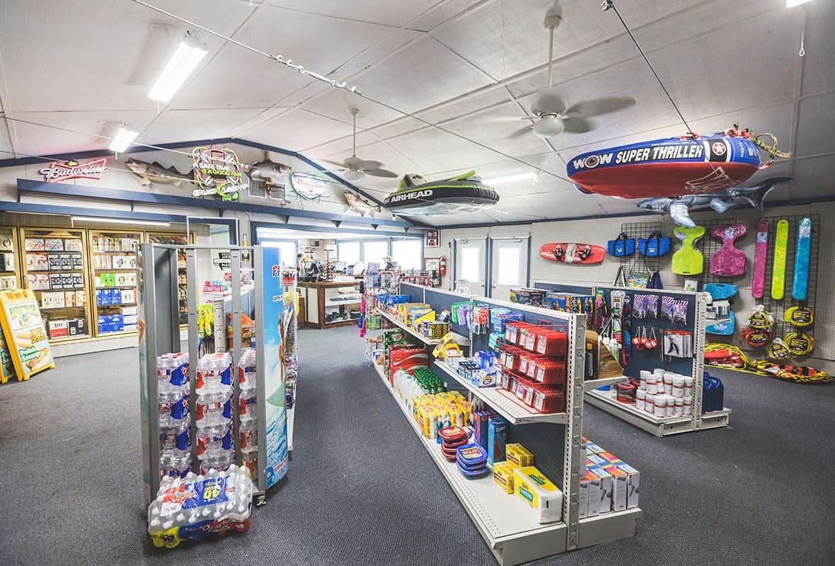 Inside of connivence store at marina