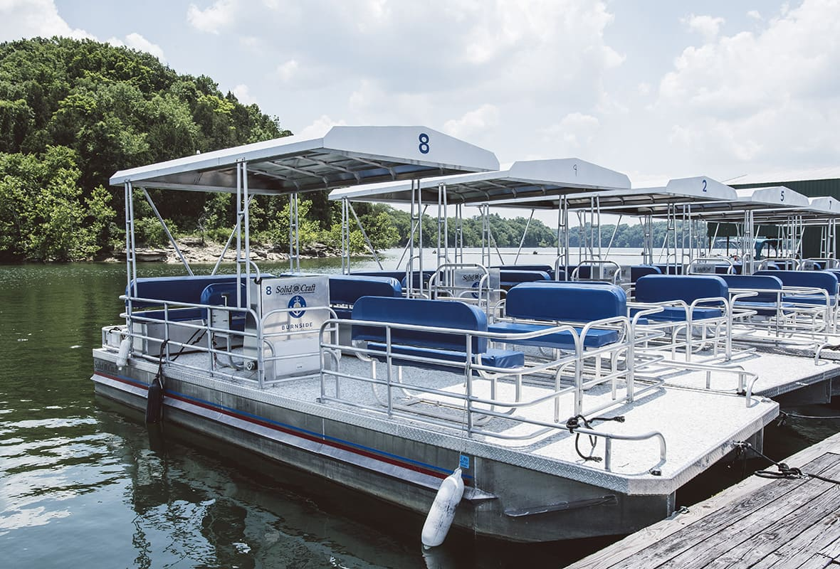 Pontoon boats at marina