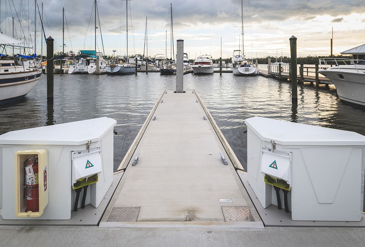 Electricity box at docks