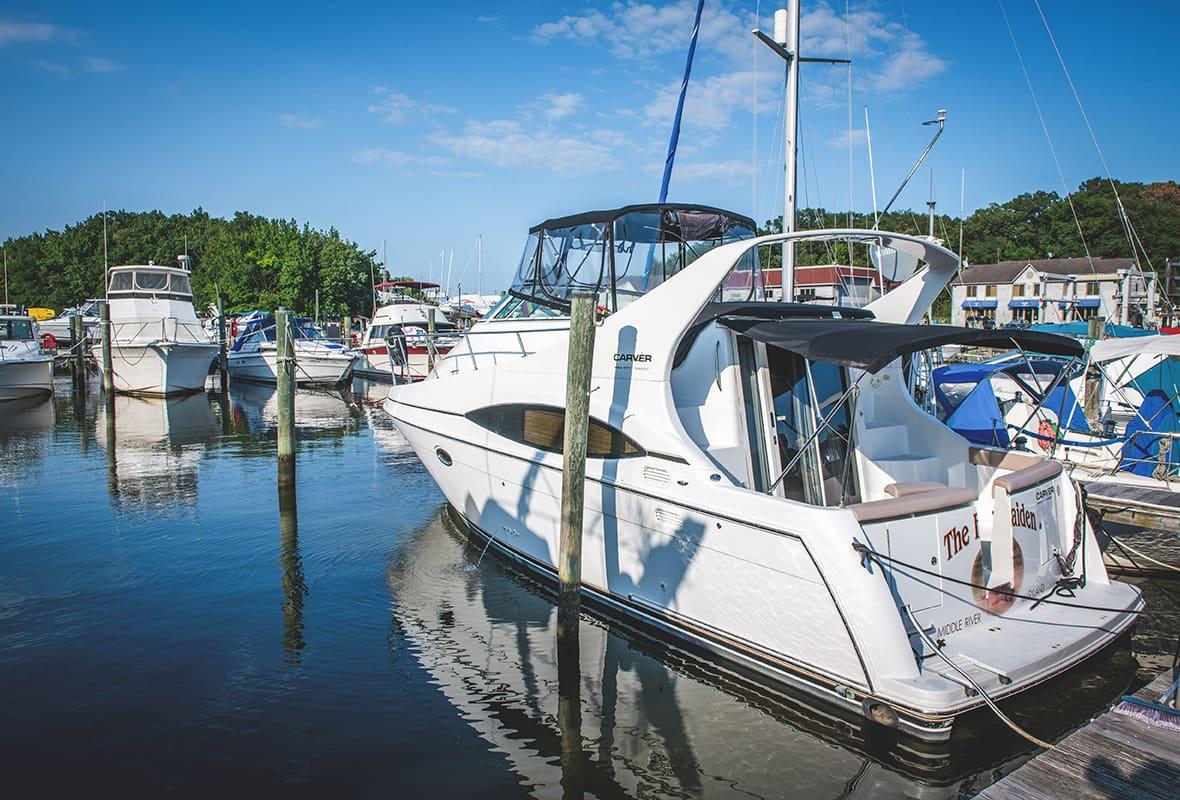 Boat docked at marina