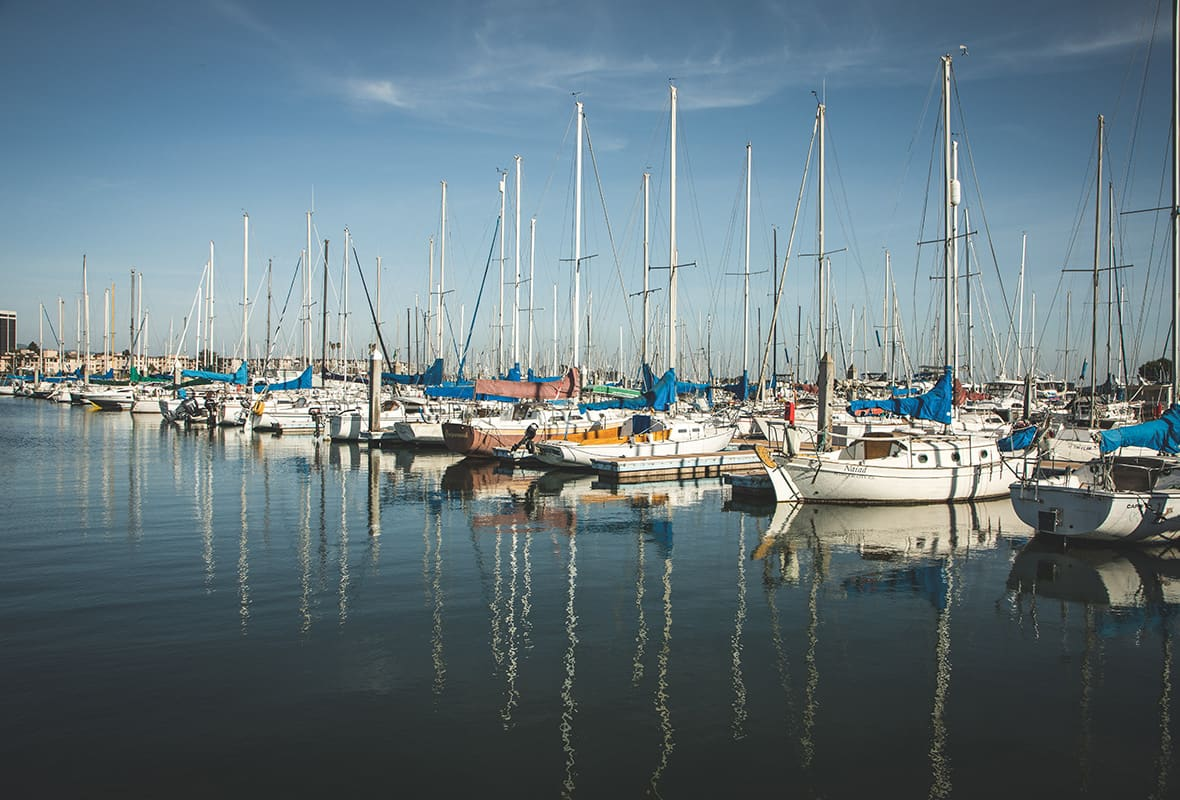 Boats docked at marinas