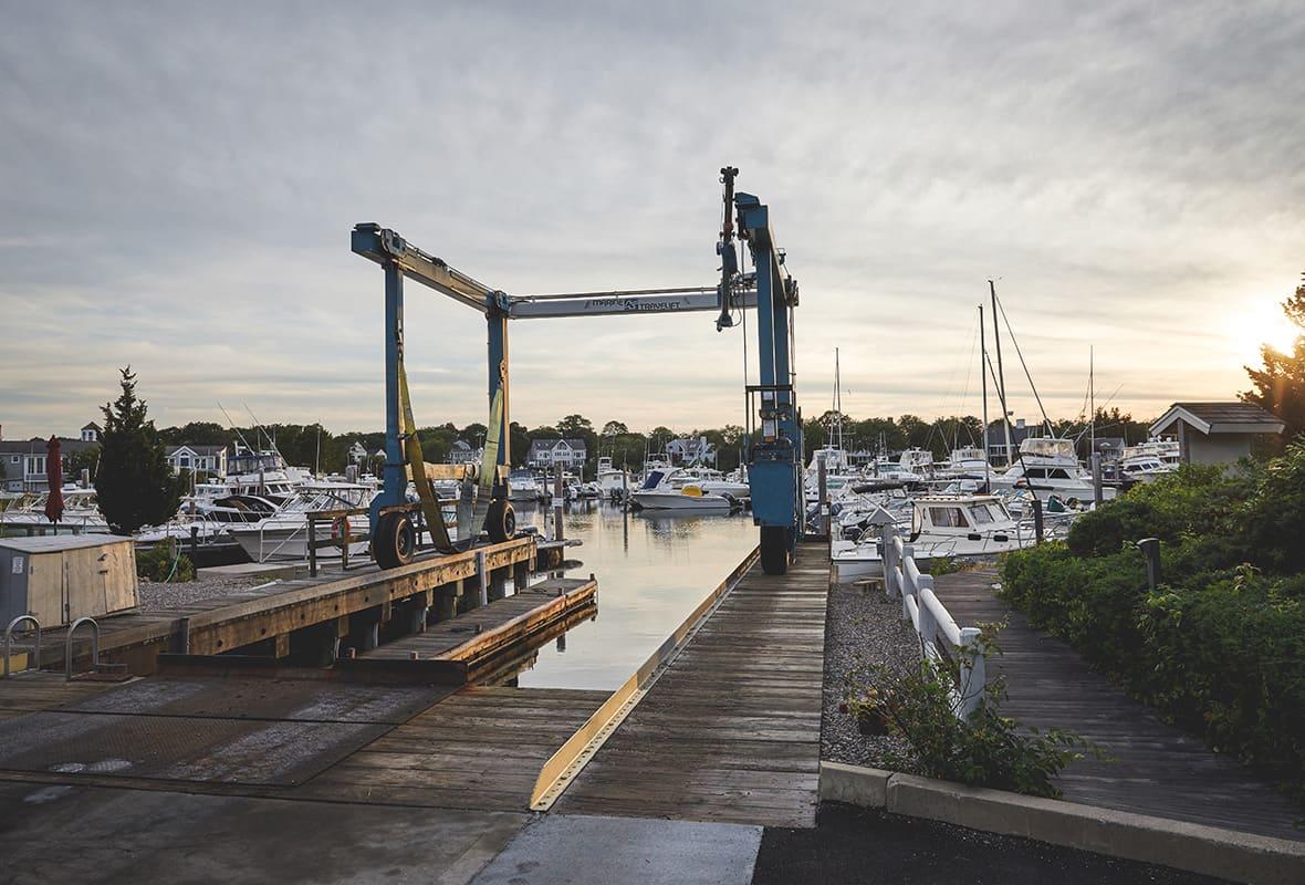 Boat lift at dock