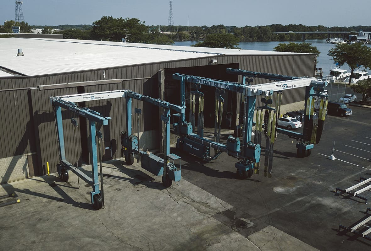 Boat lifts by storage facilities