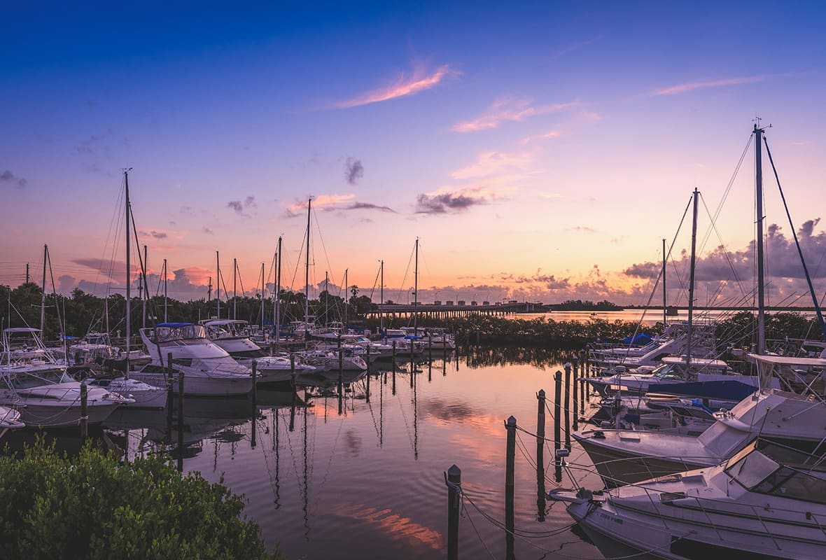 View of marina at sunset