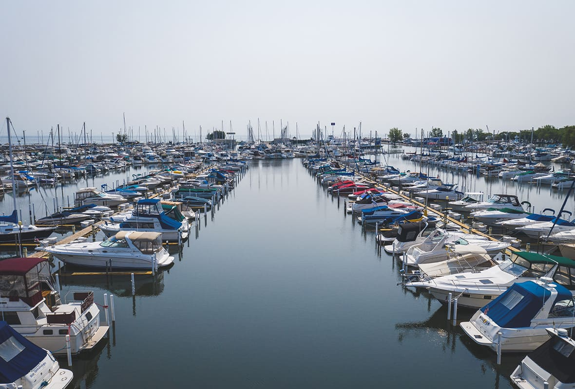 Boats docked at marina