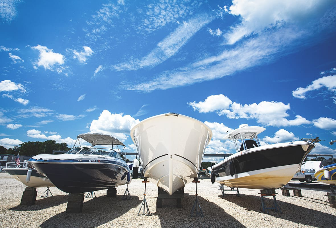Boats on dry storage lot