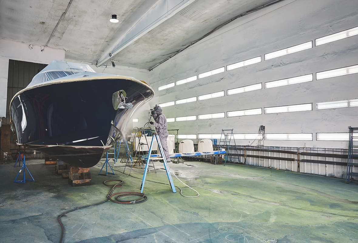 Boat being painted