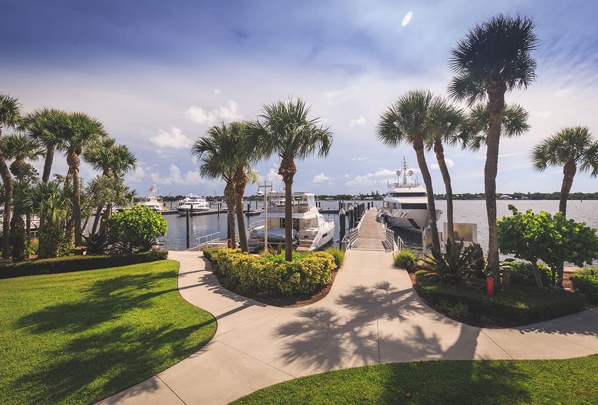 Landscaped walkway at marina