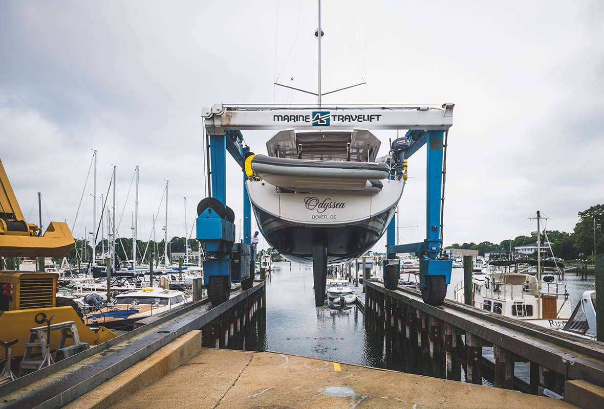 Boat being lifted from water